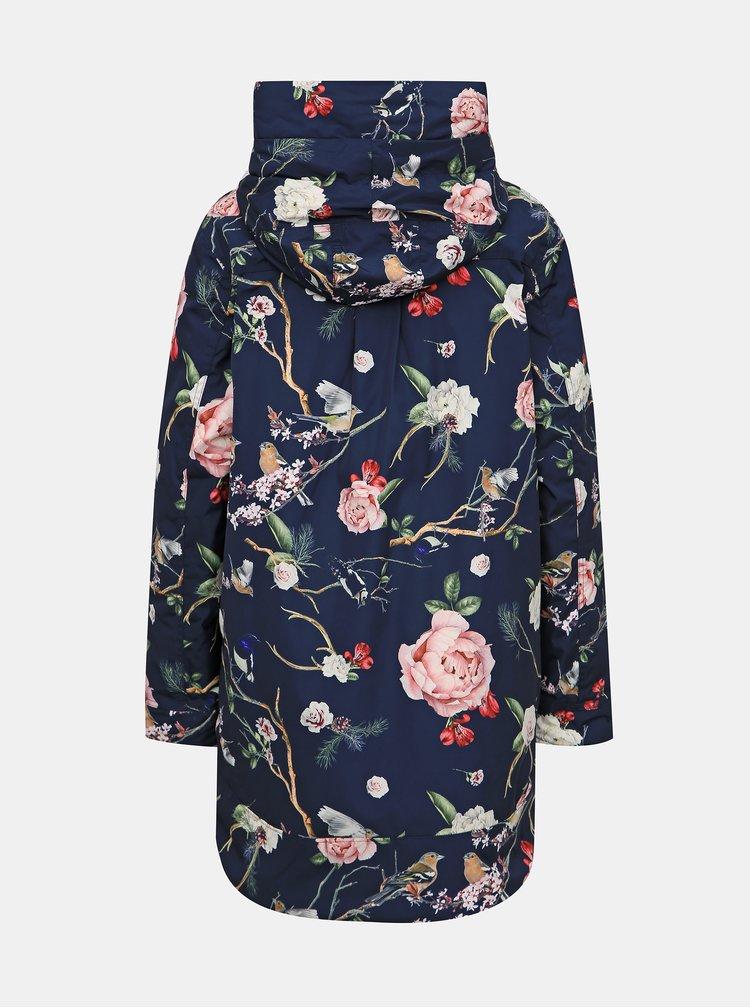 Tmavomodrá kvetovaná dlhá zimá bunda Femi Stories Zino
