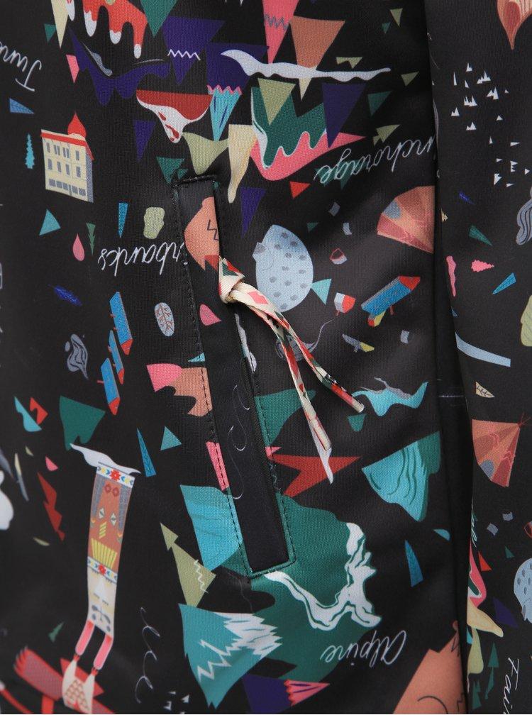 Tmavomodrá vzorovaná softshellová mikina Femi Stories Elvar