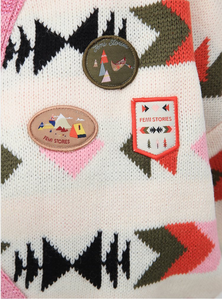 Krémovo-růžový kardigan Femi Stories Nora