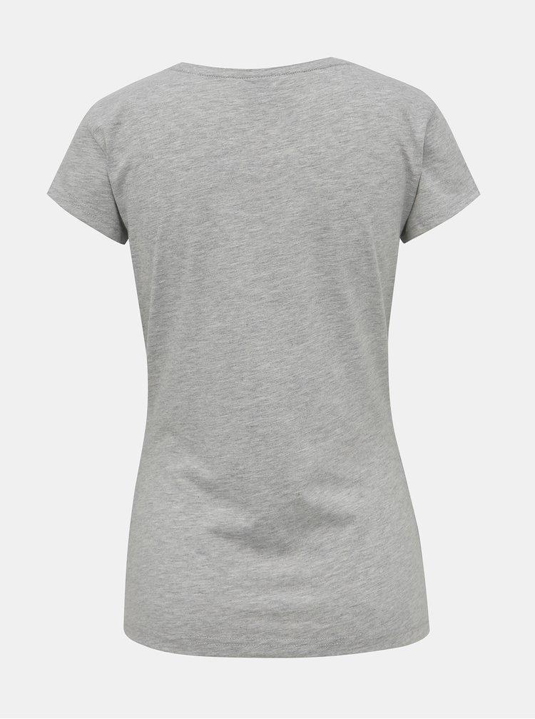 Šedé dámské tričko s potiskem Horsefeathers Scarlet