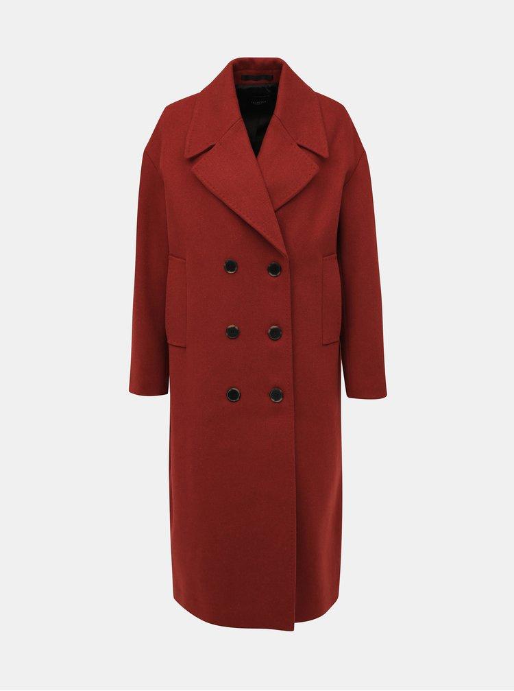 Cihlový kabát s příměsí vlny Selected Femme Jeanne