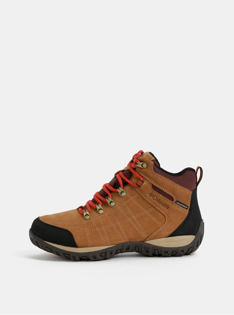 Hnedé pánske semišové nepromokavé outdoorové topánky Columbia Peakfreak