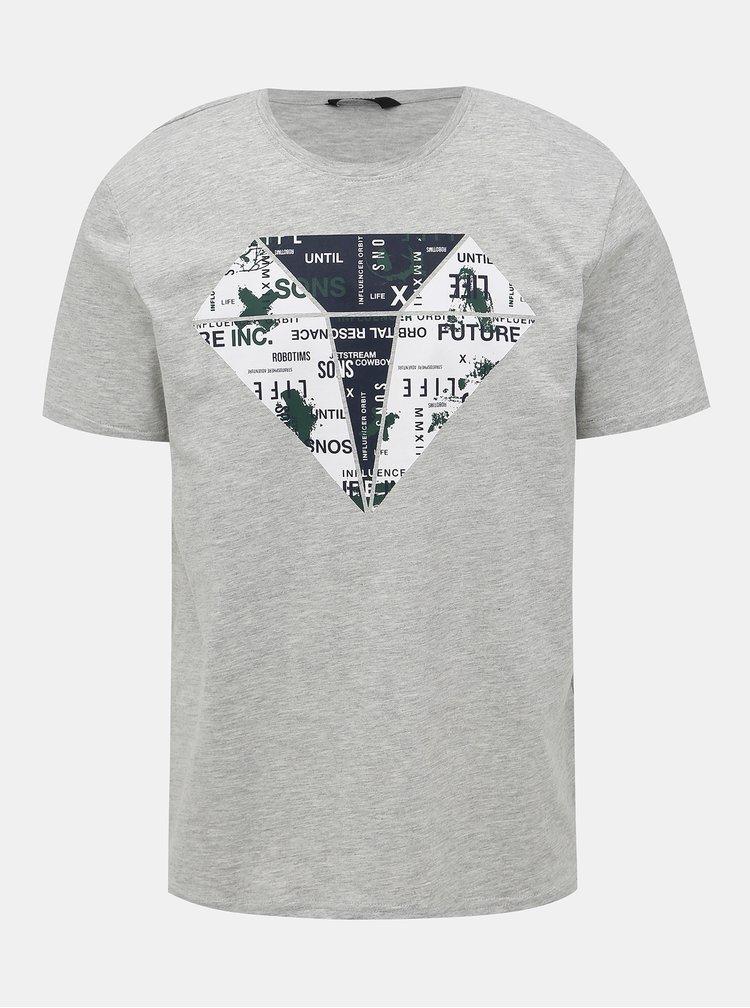 Šedé tričko s potlačou ONLY & SONS Abraham