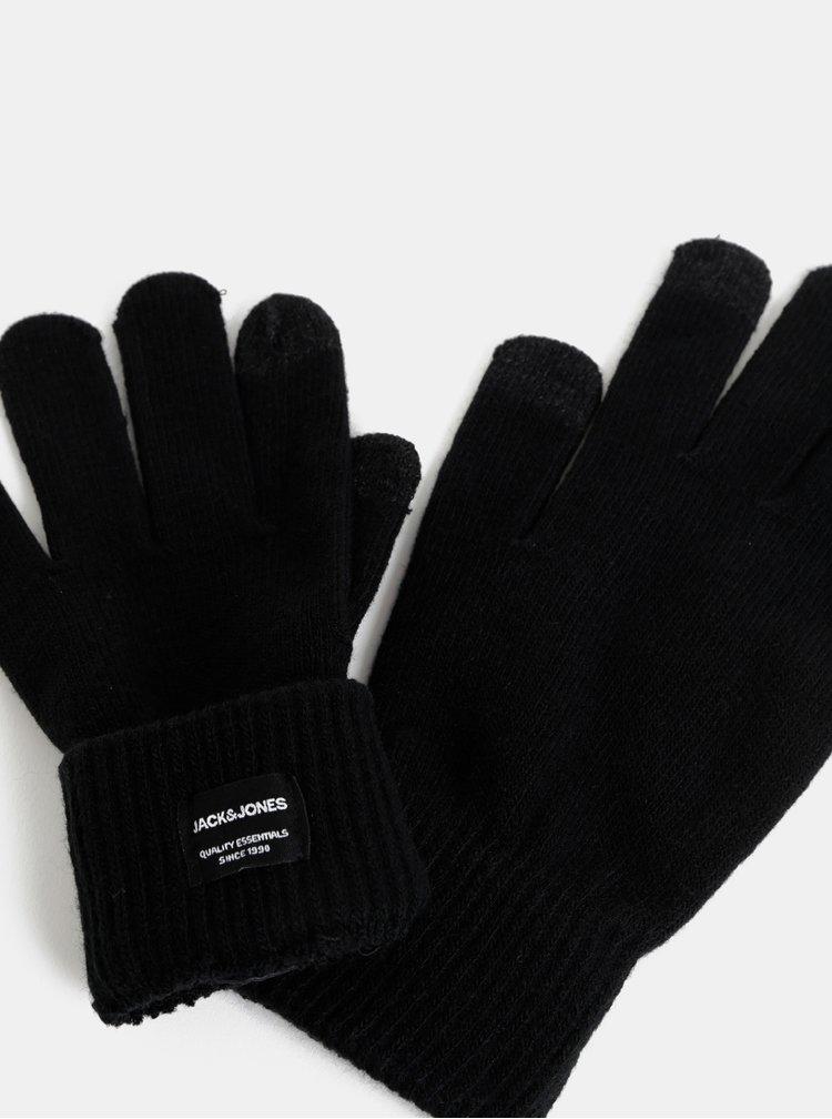 Černé rukavice na dotykový displej Jack & Jones Chenry