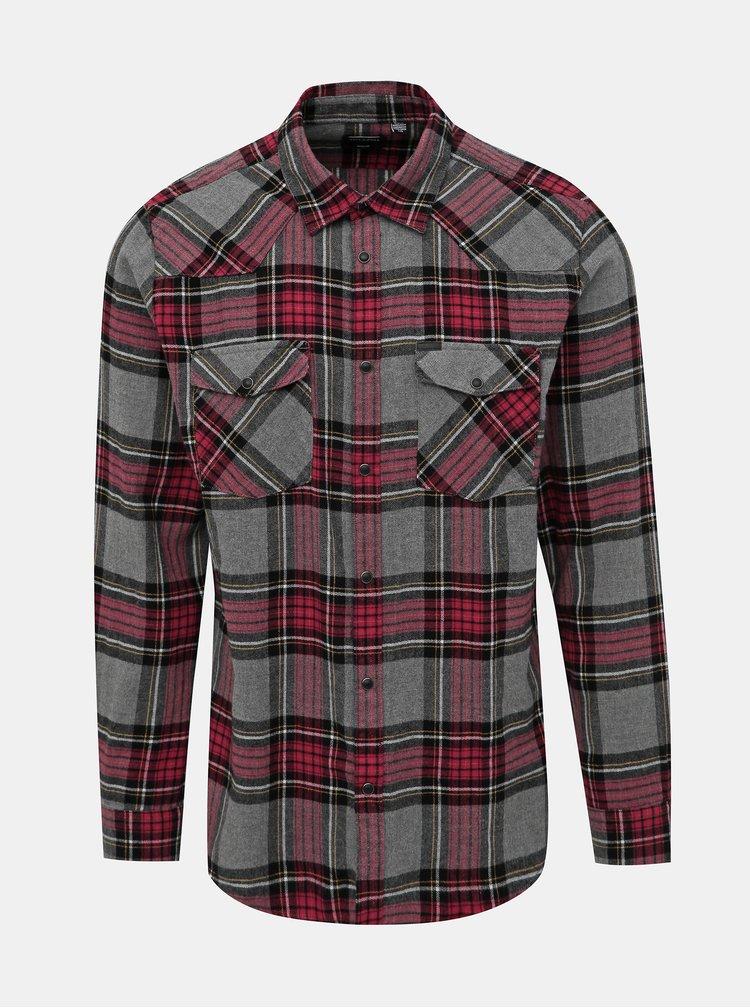 Vínovo-šedá kockovaná košeľa ONLY & SONS Ethan