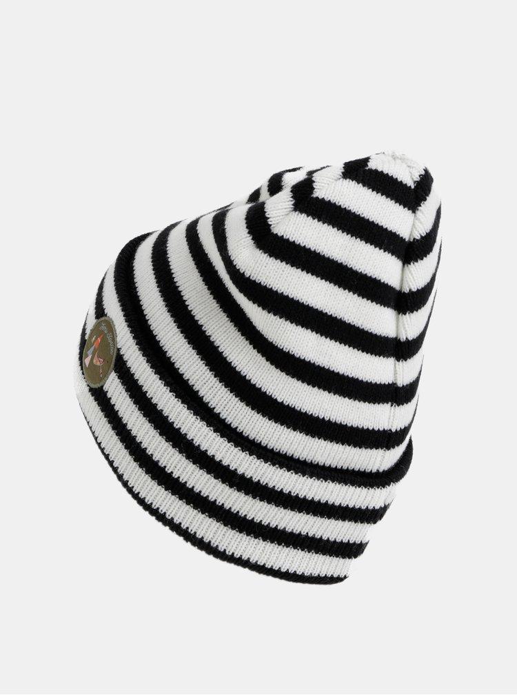 Černo-bílá vlněná pruhovaná čepice Femi Stories Aldabra