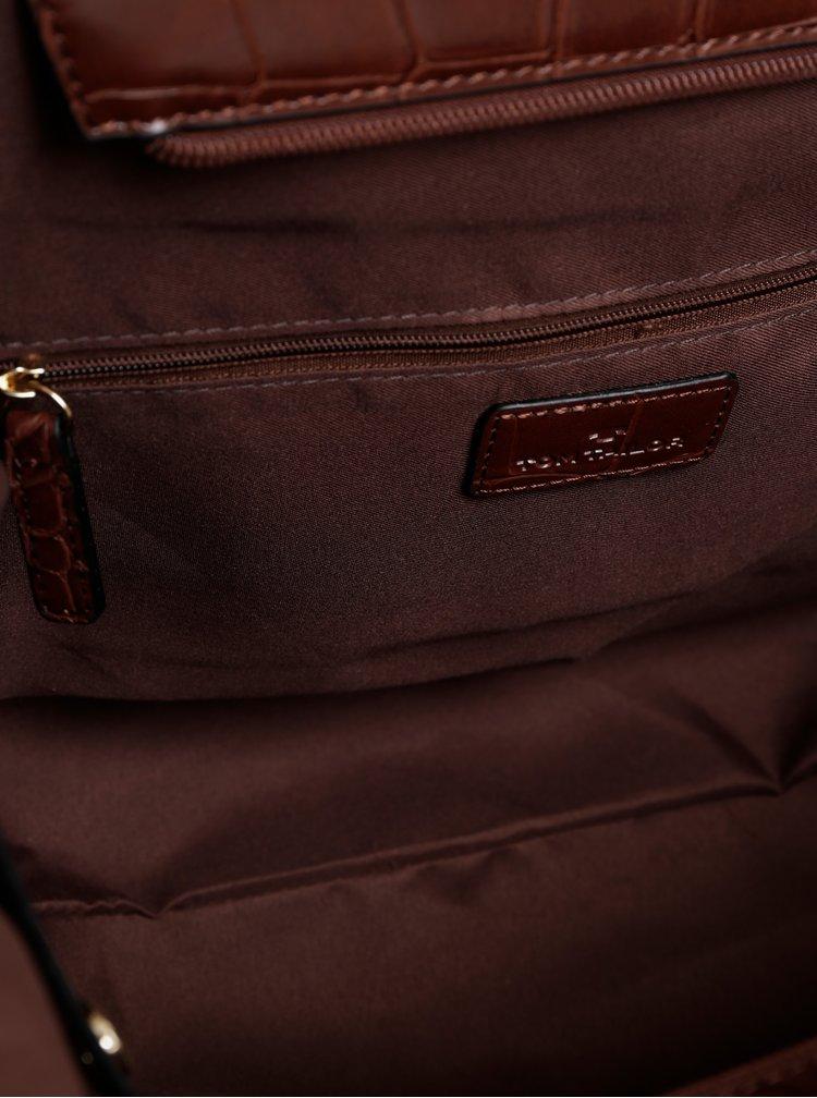 Hnědá kabelka s krokodýlím vzorem Tom Tailor Miri