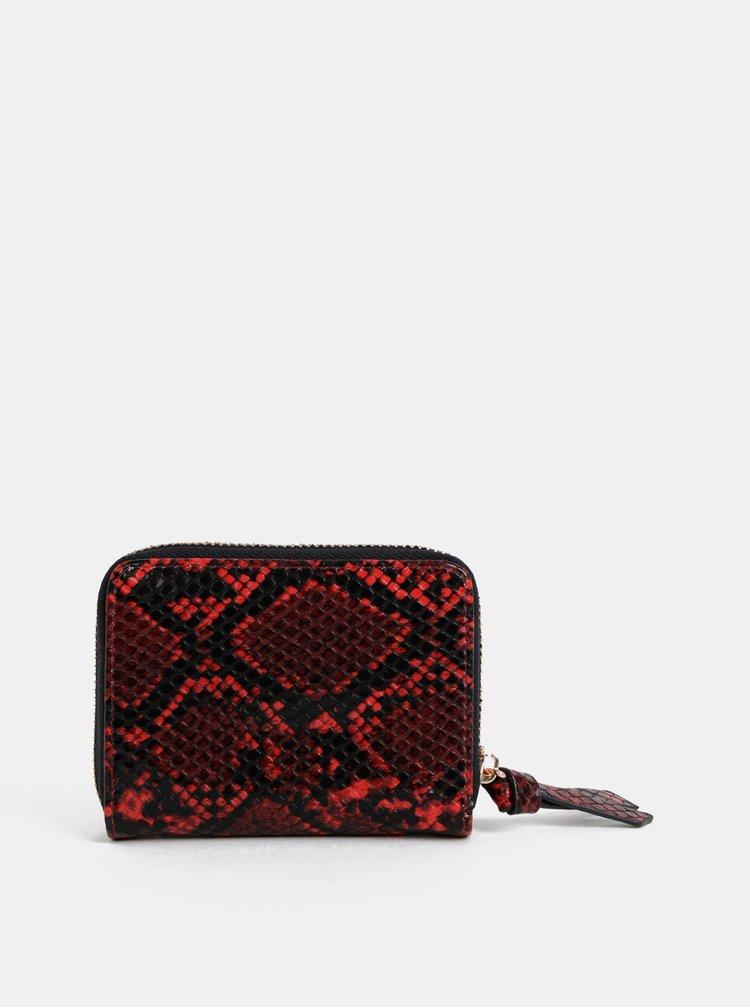 Červená peněženka s hadím vzorem Dorothy Perkins