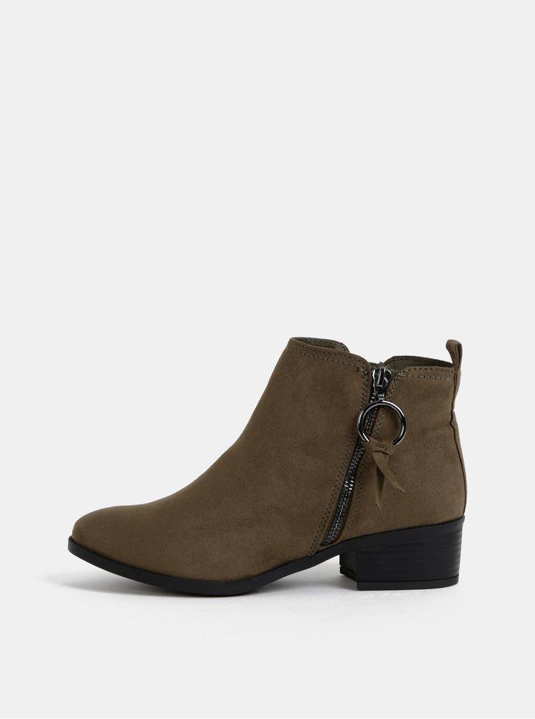 Kaki kotníkové topánky v semišovej úprave Dorothy Perkins