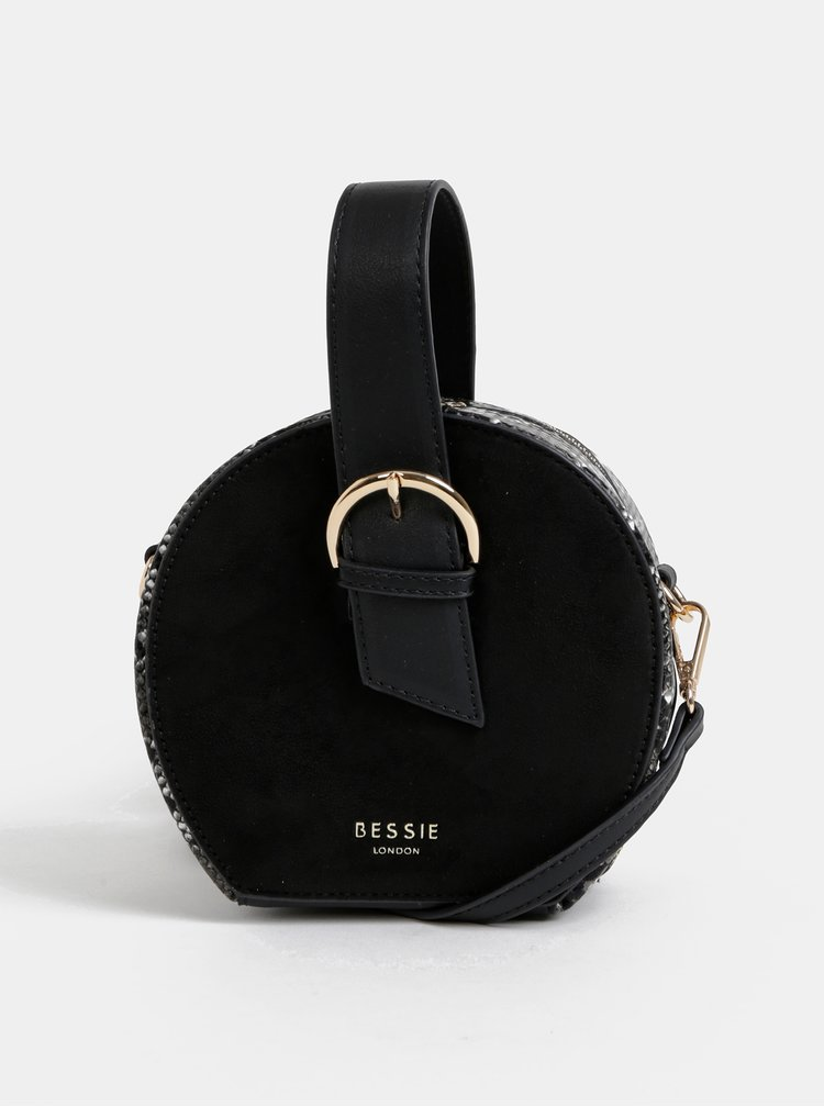Čierna crossbody kabelka v semišovej úprave s hadím vzorom Bessie London