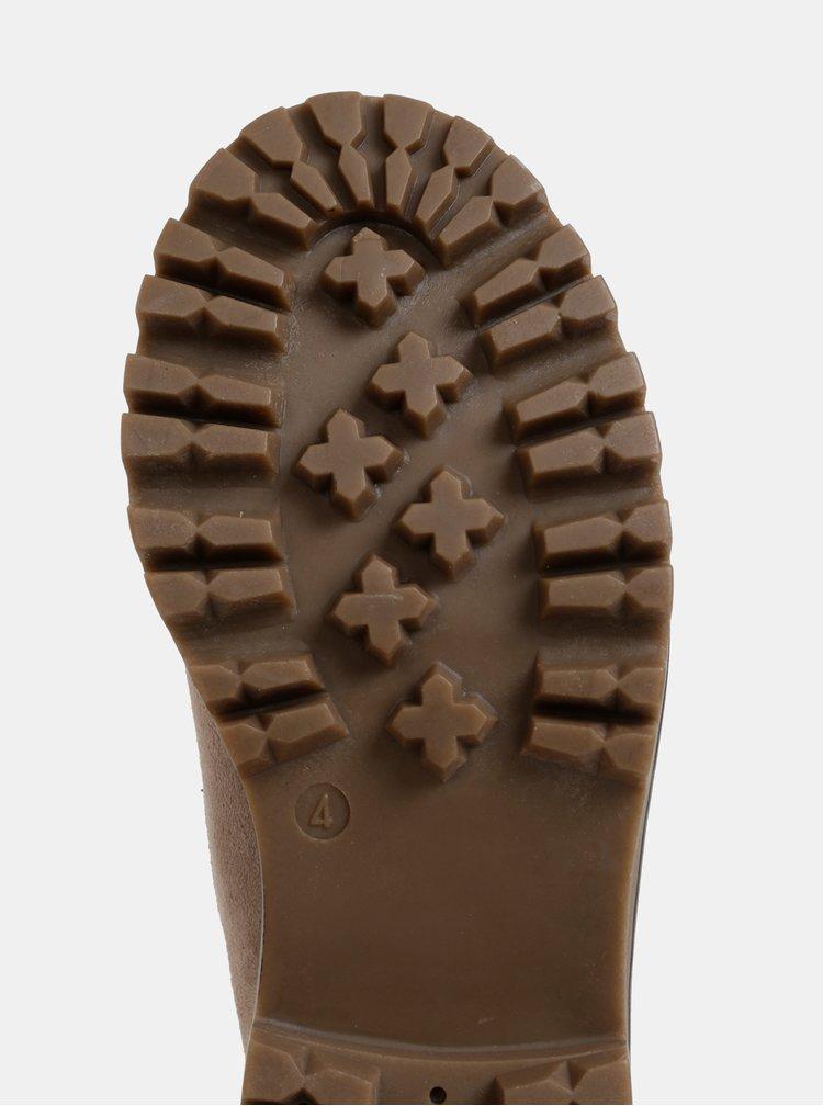 Béžové kotníkové boty v semišové úpravě s umělým kožíškem Dorothy Perkins