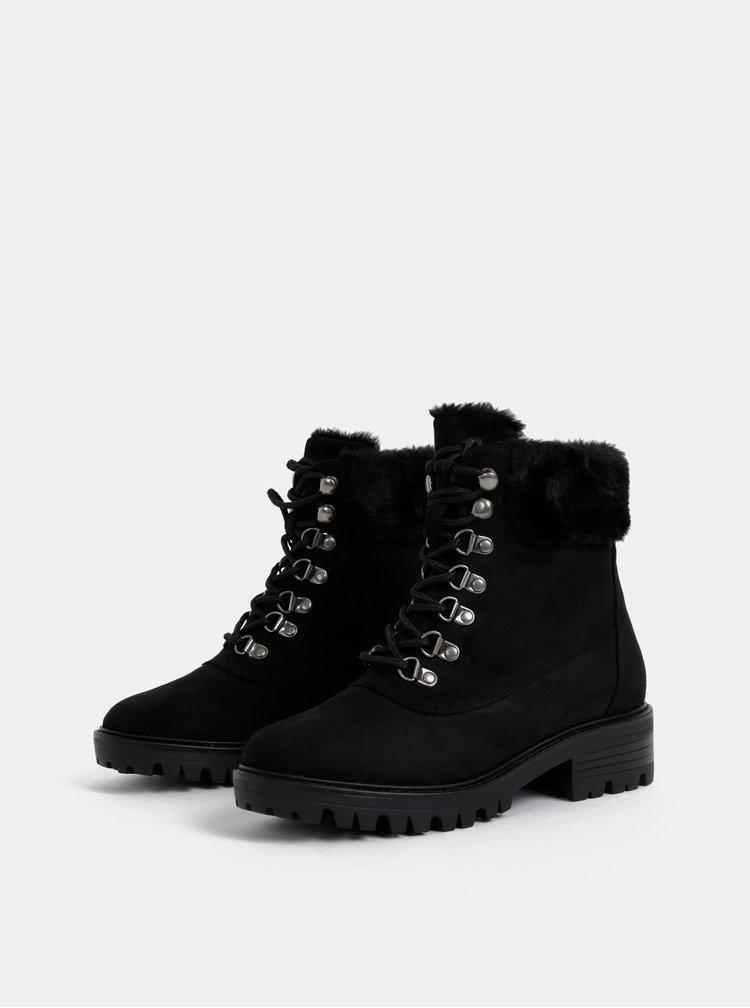 Černé kotníkové boty v semišové úpravě s umělým kožíškem Dorothy Perkins