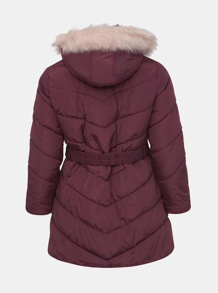 Vínový prešívaný zimný kabát Dorothy Perkins Curve
