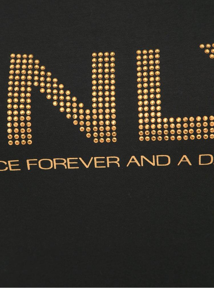 Čierne dámske tričko s aplikáciou Only