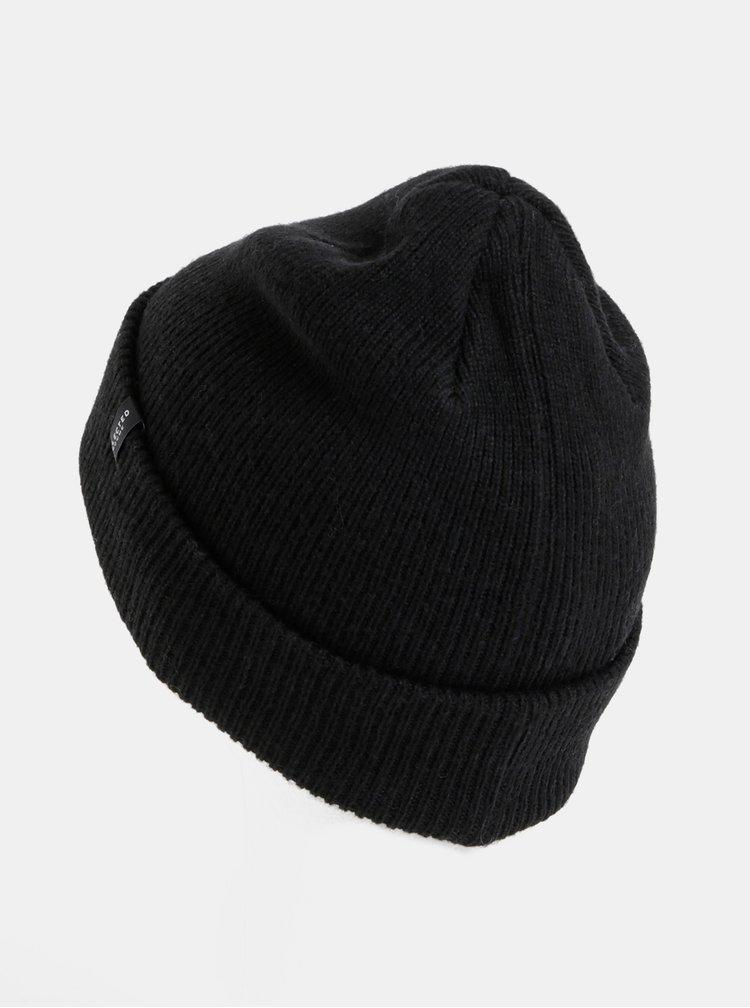 Černá vlněná čepice Selected Homme