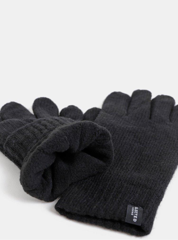 Černé vlněné rukavice Selected Homme
