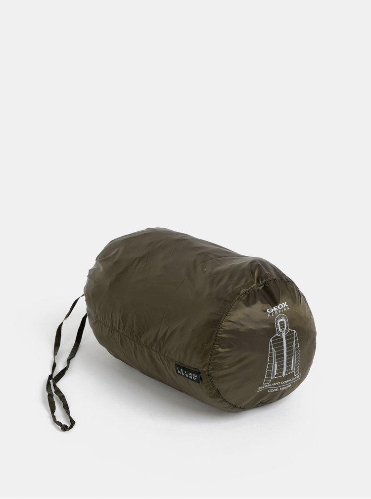 Kaki pánska lesklá prešívaná vodeodolná bunda Geox Dereck