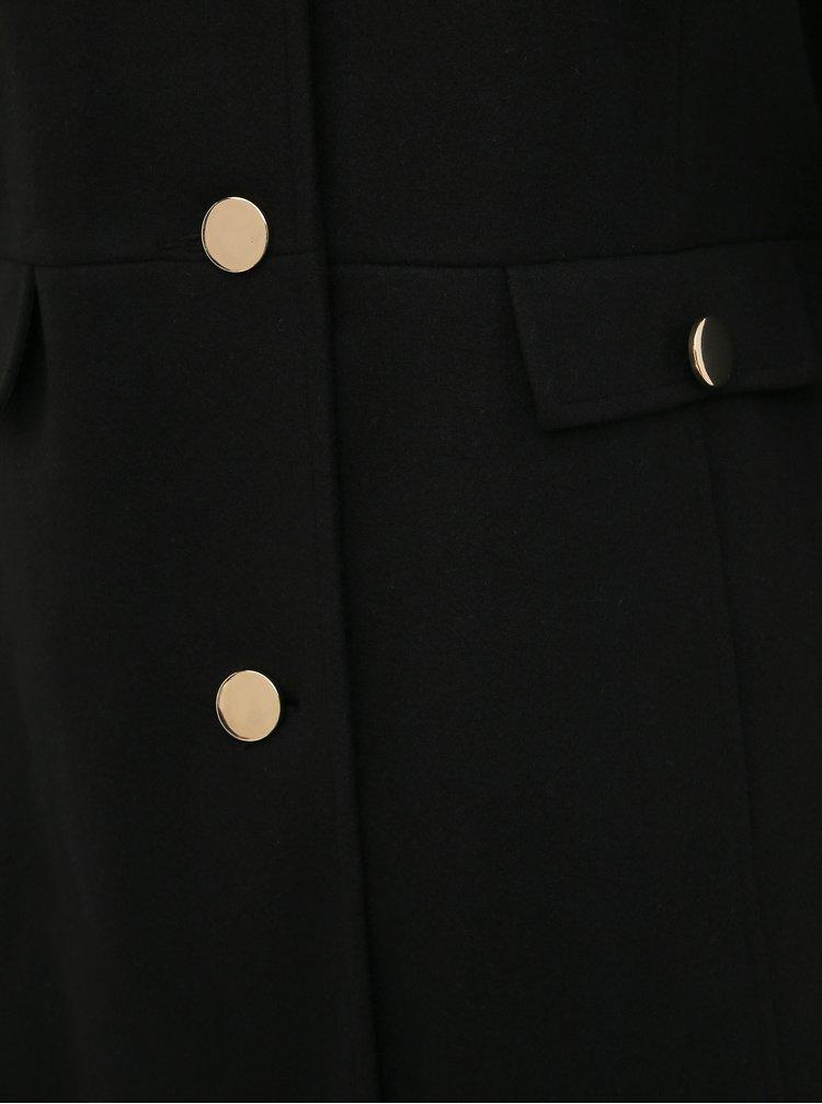 Čierny kabát s límcom s hrejivou podšívkou s leopardím vzorom Dorothy Perkins