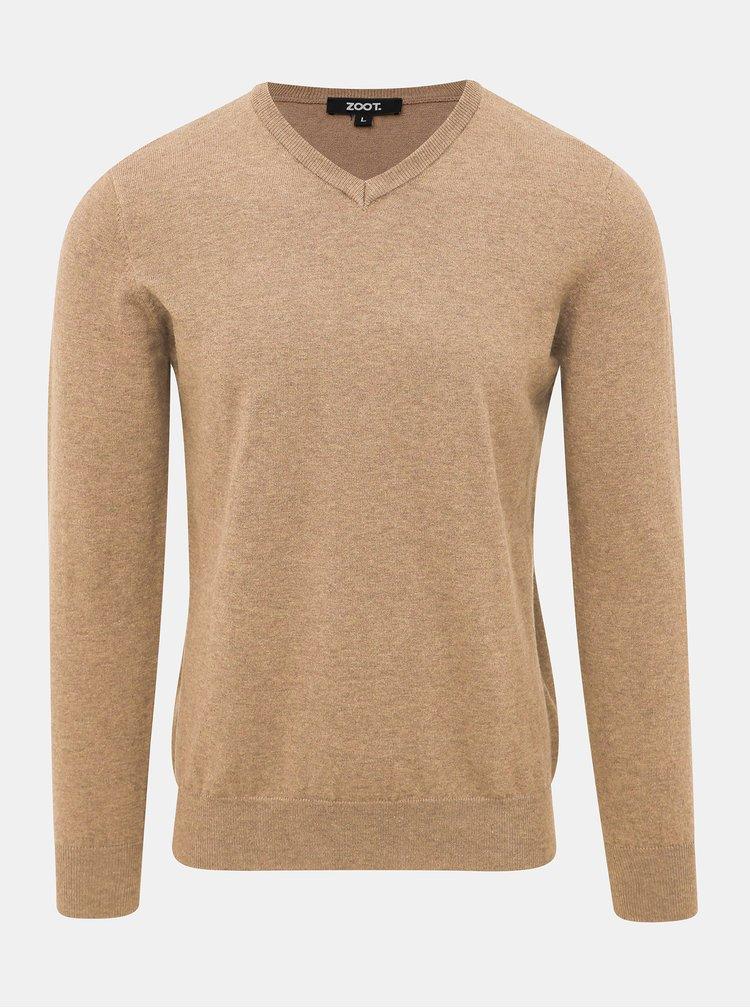 Světle hnědý pánský basic svetr ZOOT