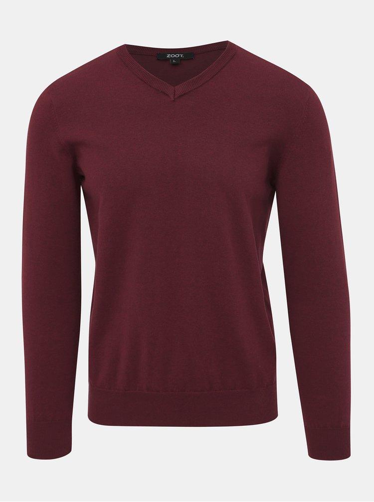 Vínový pánsky basic sveter ZOOT