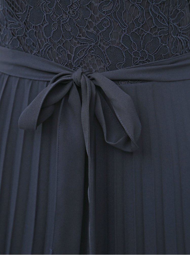 Tmavomodré midišaty s plisovanou sukňou a priestrihom v dekolte Dorothy Perkins