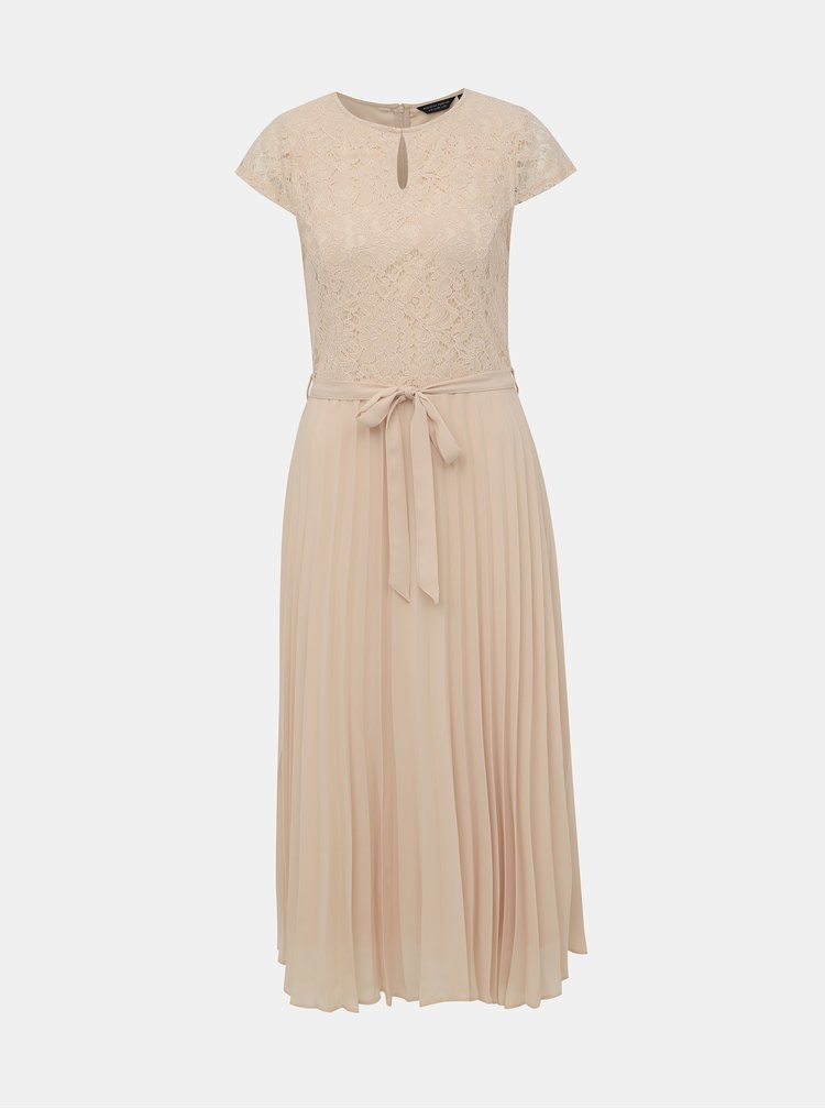 Béžové midišaty s plisovanou sukňou a priestrihom v dekolte Dorothy Perkins