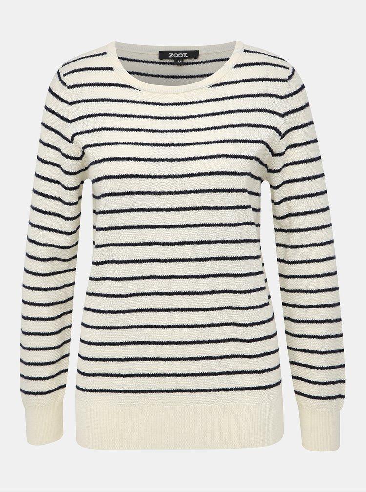 Krémový dámsky pruhovaný basic sveter ZOOT