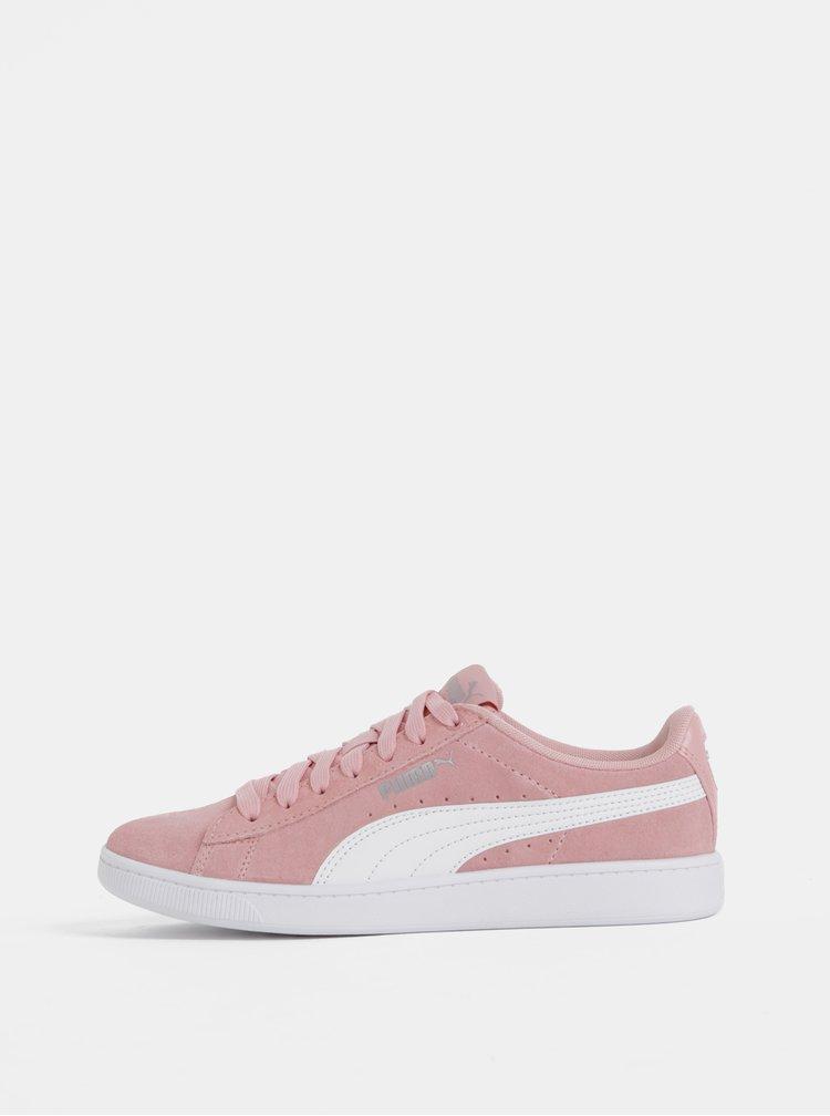 Růžové dámské semišové tenisky Puma Vikky