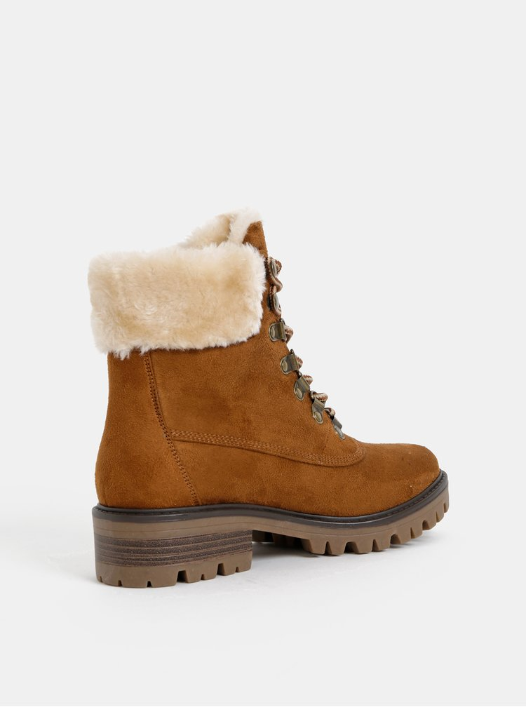 Hnědé kotníkové zimní boty v semišové úpravě s vnitřním umělým kožíškem Dorothy Perkins