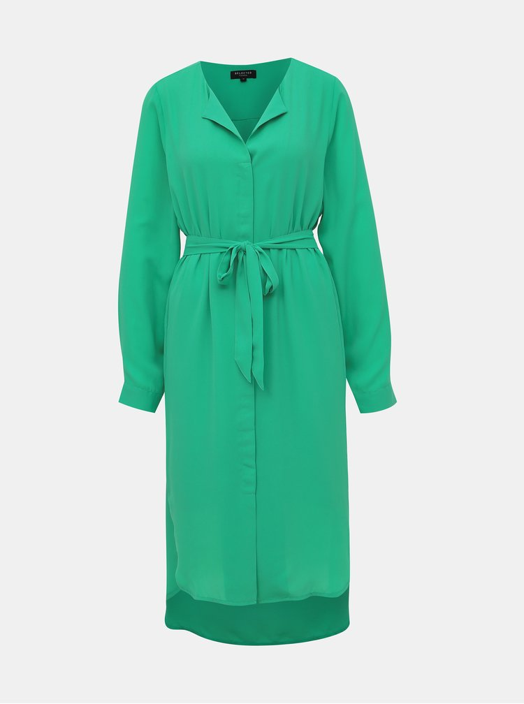 Zelené košilové šaty Selected Femme Dynella