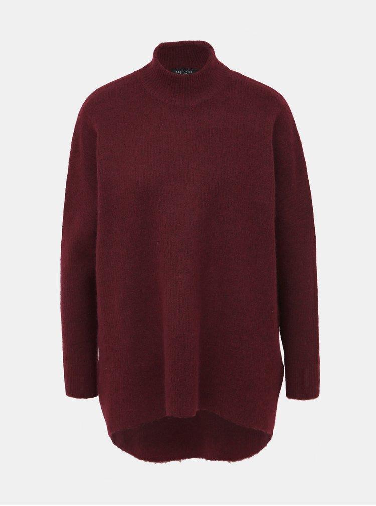 Vínový sveter so stojáčikom a s prímesou vlny Selected Femme Enica