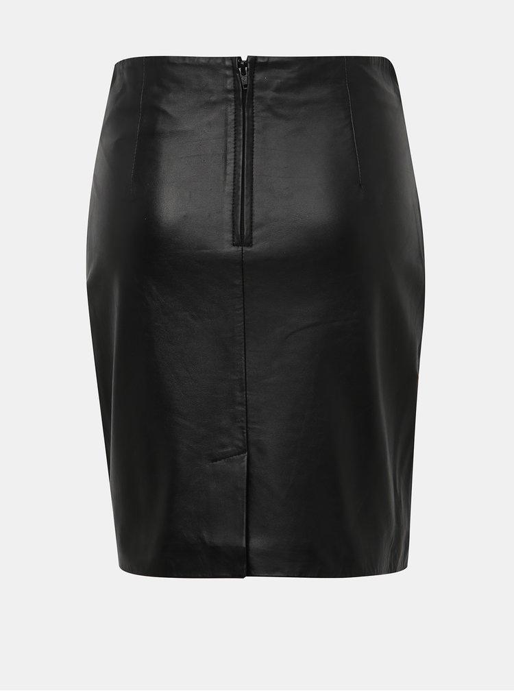 Černá kožená pouzdrová sukně Selected Femme Marva