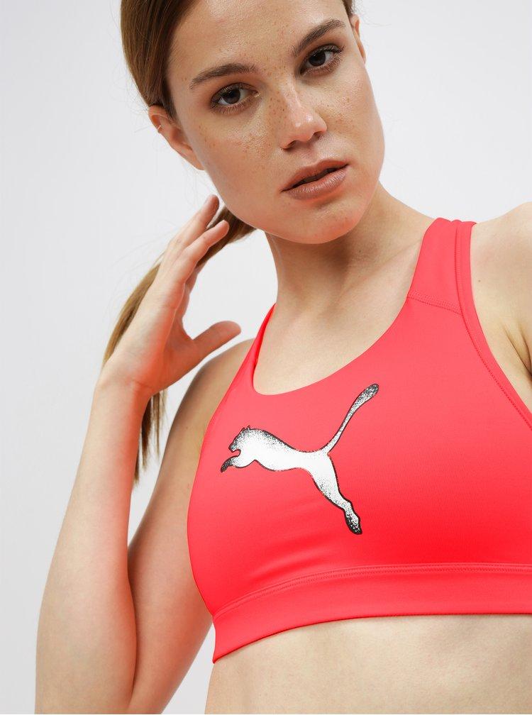 Neonově růžová sportovní podprsenka Puma 4Keeps