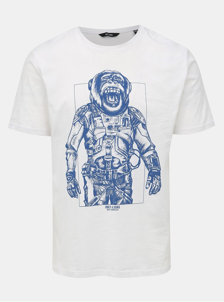 Bílé tričko s potiskem ONLY & SONS Alexander