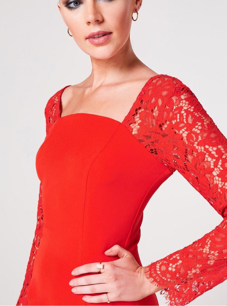 Červené púzdrové šaty s krajkou Paper Dolls