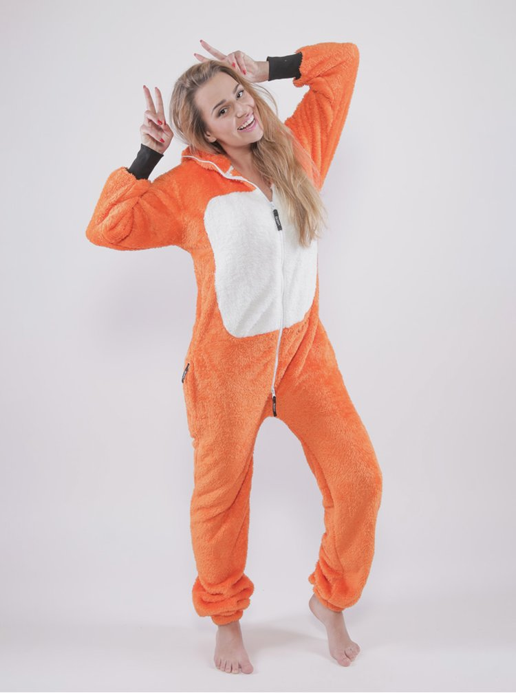 Oranžový unisex overal v tvare líšky SKIPPY