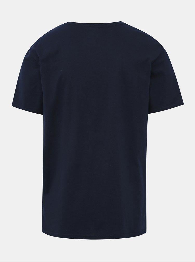 Tmavomodré tričko s potlačou Quiksilver Comp
