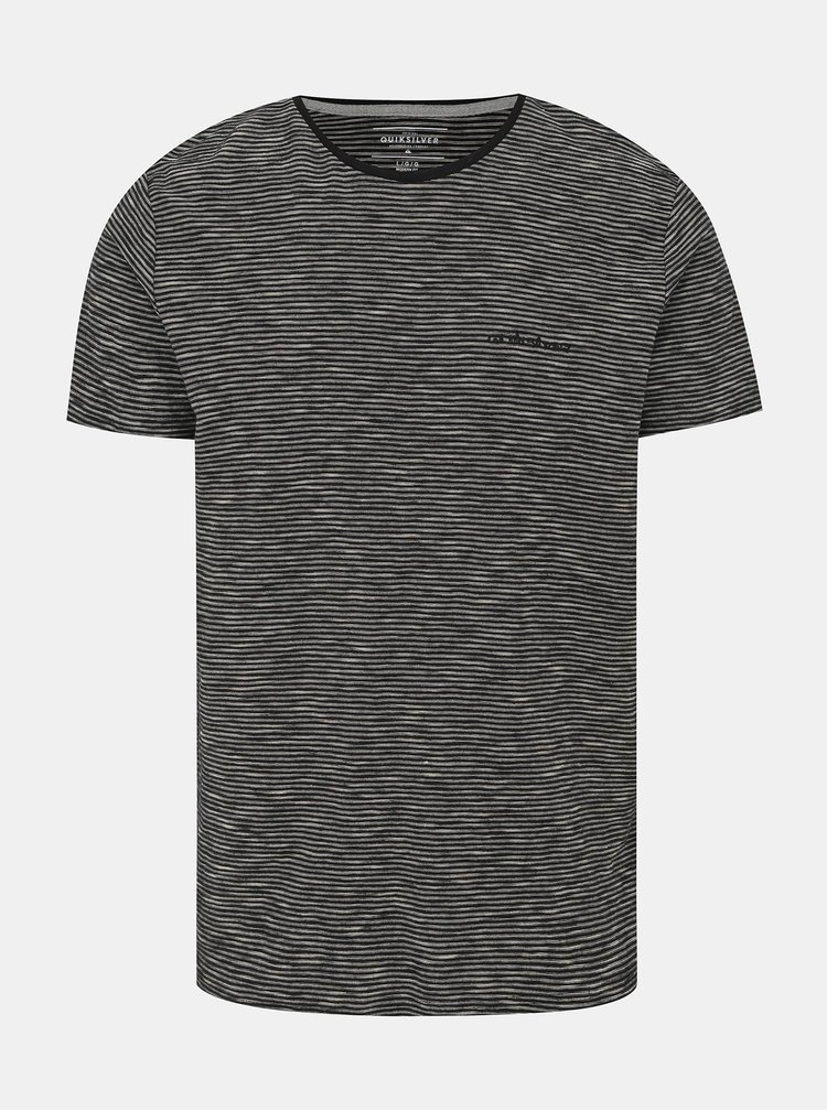 Čierne pruhované tričko Quiksilver Ken Tin