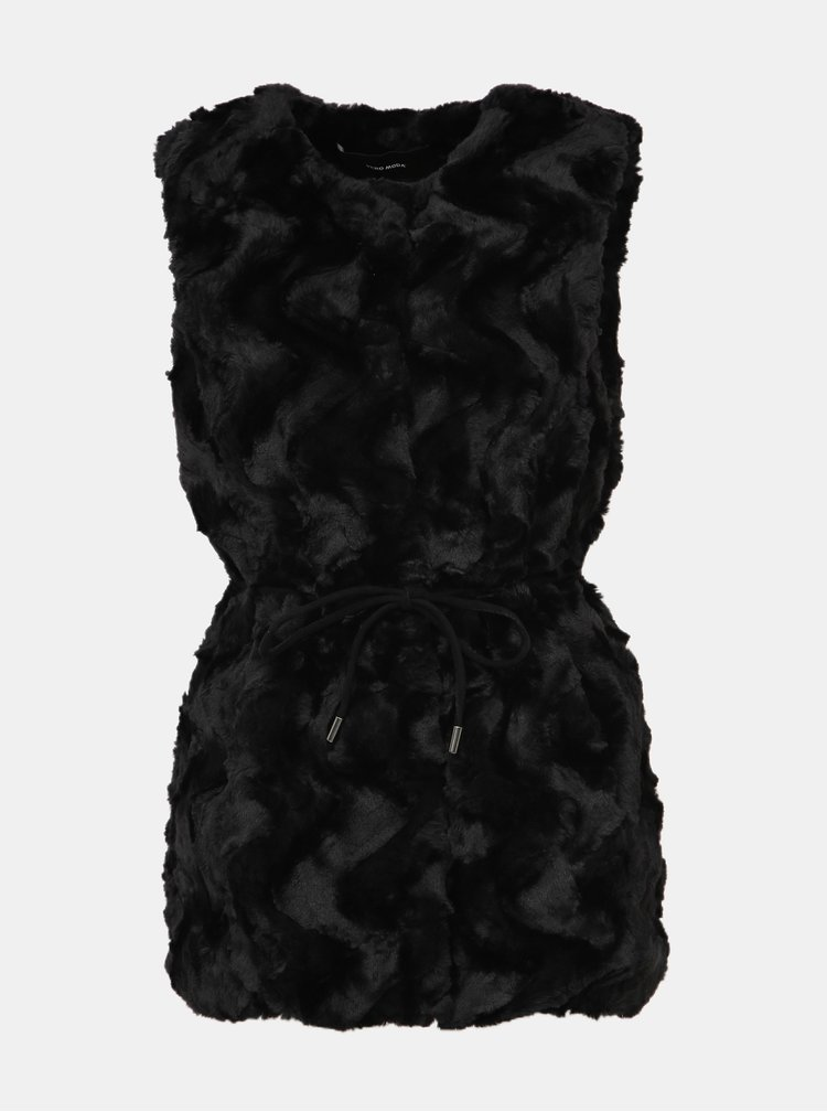 Černá vesta z umělé kožešiny VERO MODA Curl