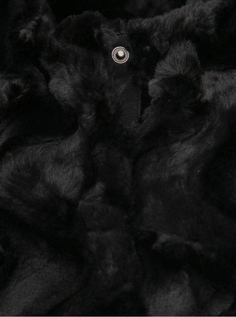 Čierna vesta z umelej kožušiny VERO MODA Curl