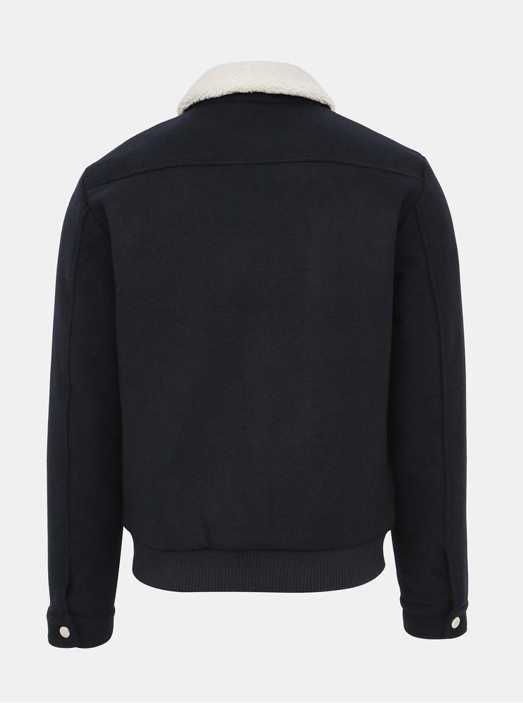 Tmavomodrá bunda s prímesou vlny Jack & Jones Magnus