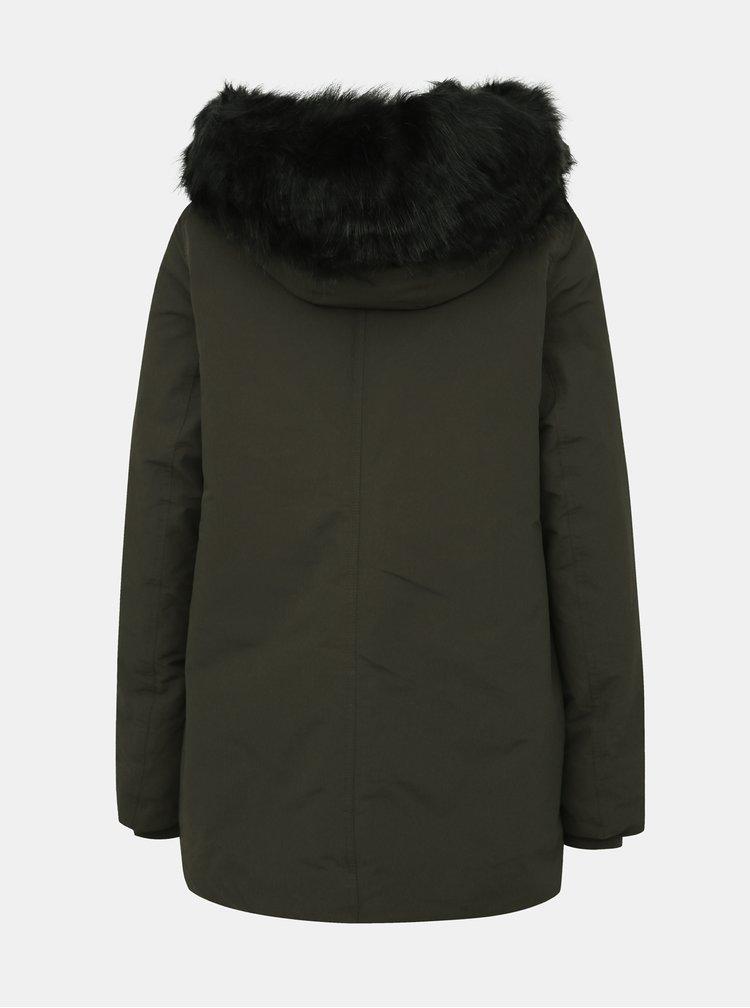 Zelená zimní bunda s umělým kožíškem VERO MODA Jessica