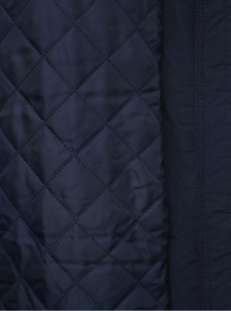 Tmavomodrá zimná bunda s umelým kožúškom VERO MODA Jessica