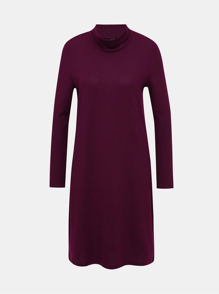 Vínové svetrové šaty s rolákem VERO MODA Malena