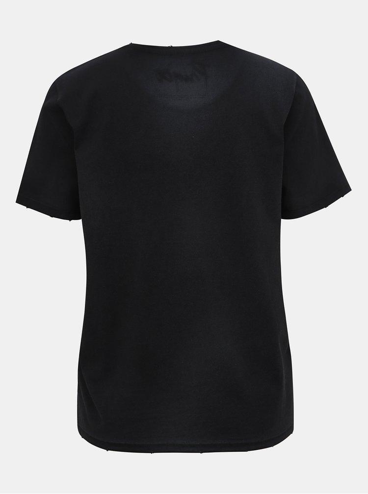 Černé tričko s potiskem ONLY Prince