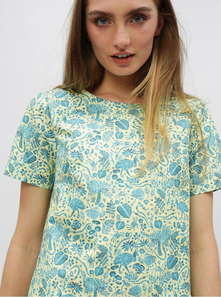 Modro-zelené šaty s motivem listů annanemone