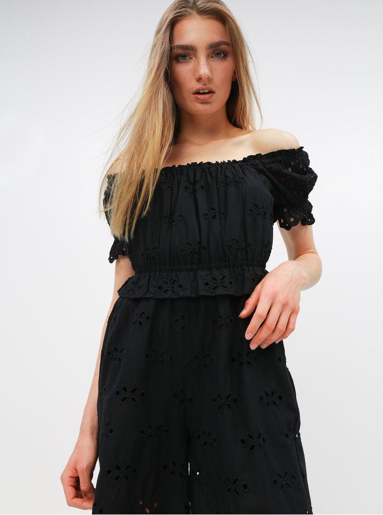 Černý overal s madeirou Miss Selfridge
