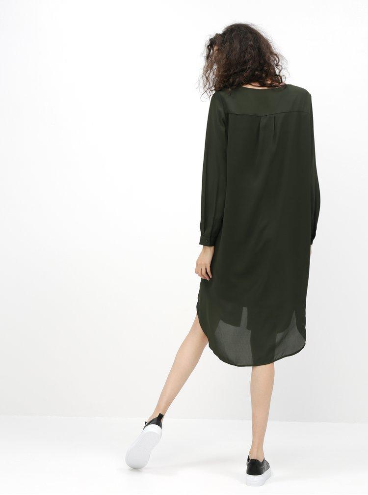 Tmavě zelené šaty Selected Femme Dynella