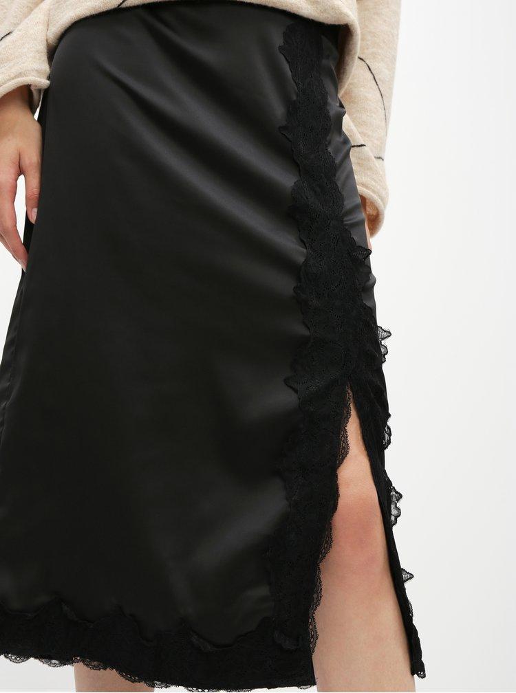 Čierna midi sukňa s krajkou VILA Ellie