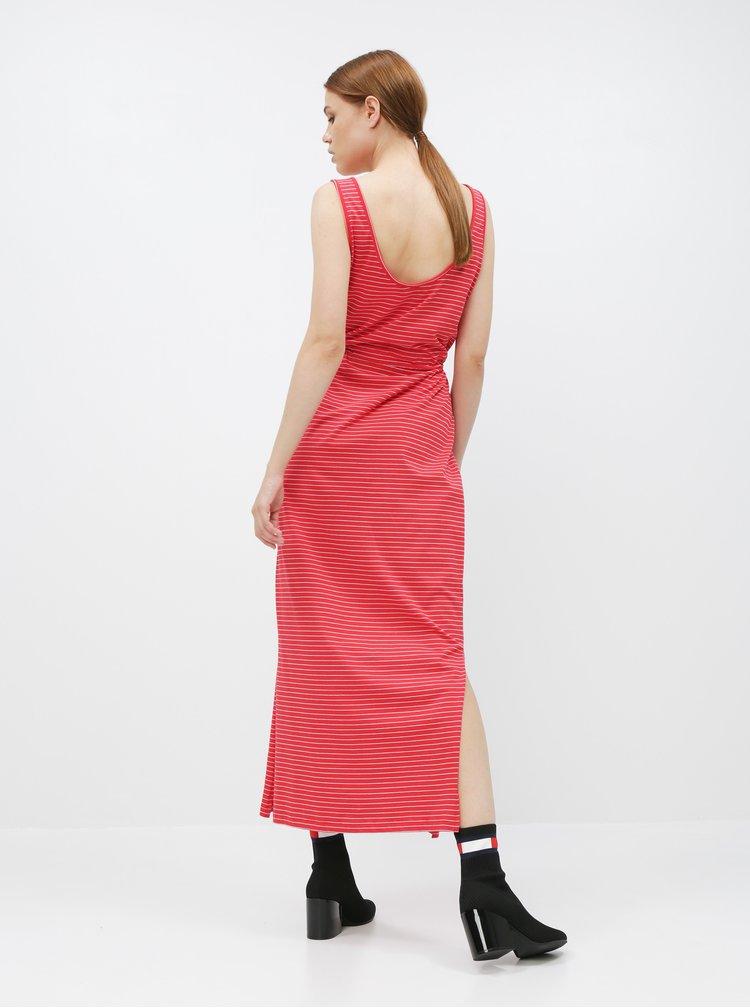 Červené pruhované basic maxišaty s knoflíky a rozparky VERO MODA Daina